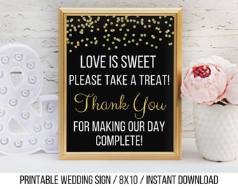 Love is Sweet Please Take a Treat / Printable Candy Buffet Sign / Instant Download / Black and Gold Glitter