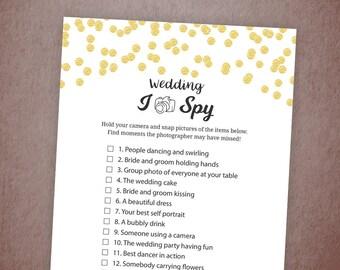 I Spy Wedding Reception Games Printable, Gold Confetti Bridal Shower Games, Newlywed, Instant download, I-Spy Wedding Shower Games A001