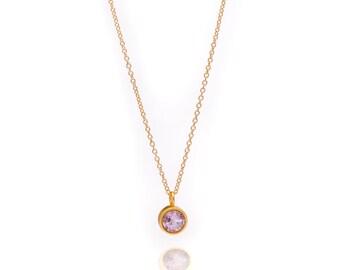 Gemstone POP Necklace - Gold Necklace - Amethyst Necklace - Small Gemstone Pendant Necklace - 24k Gold Vermeil