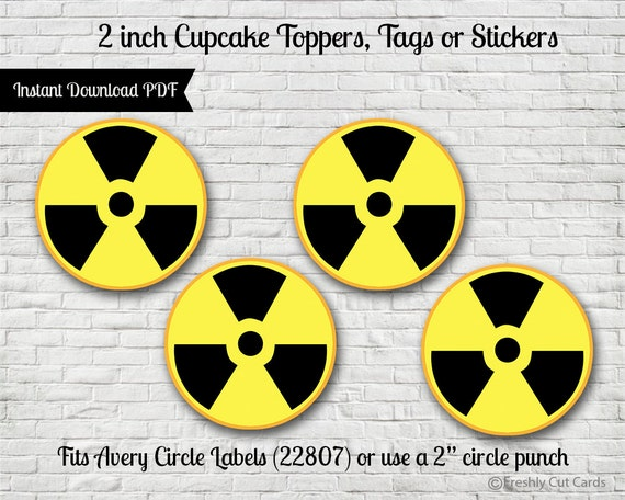 Radioactive Symbol 2 Printable Treat Toppers Or Labels