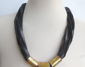 Black Leather Cord Necklace Statement Necklace Copper Spacers  Leather Jewelry for Women