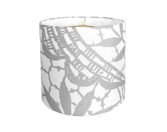 13 Inch READY TO SHIP - Linen Gray and White Lamp Shade - Large Scale Lace Pattern Lampshade - Drum Lamp Shade