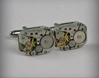 SALE...Watch Movement Cufflinks  ,  Steampunk Cufflinks . Steampunk jewelry ,  Vintage Clockwork Watch Movement CuffLinks