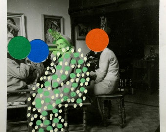Collage Art Dada, Vintage Style Collage Art With Stickers And Pens