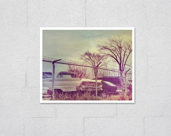 Old Cars in Yard Photo Print, Fine Art Archival Photo Print, Yellow Car with Tail Fins in Junk Yard, Old Photo Effect, Man Cave Wall Art