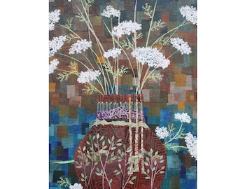 "Queen Anne's Lace in Vase with Birches 5"" x 7"" Blank Greeting Cards (Set of 6). Print of Original Collage. Stationery. Print to Order."