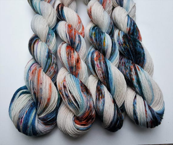 Hot Springs- 100 Cotton, Hand Dyed, Worsted Weight, Speckled, Variegated Yarn