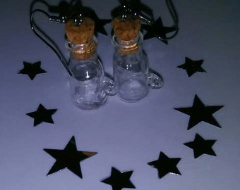 1Pair Clear Miniature Bottle Jar Earrings