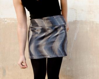 Fake Fur Skirt Mini Grey, Low Waist Mini Skirt with Yoke Elastic Faux Fur