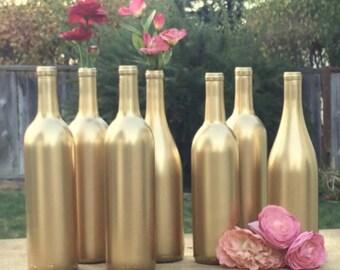 Metallic Gold Wine Bottle Centerpieces