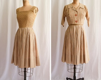 1950s Ensemble | Henry Rosenfeld | Vintage 50's Dress Tan Eyelet Bodice Gingham Swing Dress Fit and Flare Matching Jacket - 2 Piece Set S/M