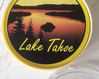 Vintage 3 inch complete round playing card deck with case Lake Tahoe
