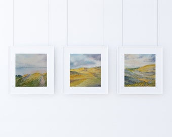 Seascape Painting Gallery Wall Set of 3 Piece Coastal Wall Artwork Original Watercolor Landscape Triptych Small Painting Miniature Painting
