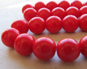 Czech Glass Beads 8mm Sparkling Smooth Opaque Scarlet Red Rounds - 12 Pieces