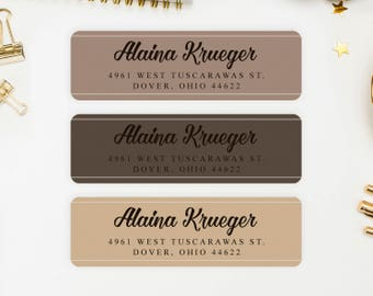 Address Labels / Coffee Colors Personalized Return Address Labels / Custom Address Labels / Address Sticker / Address Label Sticker / Alaina