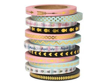 "12 Thin Foil Washi Tape Set - 11/64"" Wide - Days of The Week - Planner Stickers - Scrapbooking - Erin Condren - Love My Tapes"