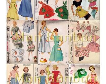 Vintage Apron Sewing Pattern Digital Collage Sheet  - INSTANT DOWNLOAD