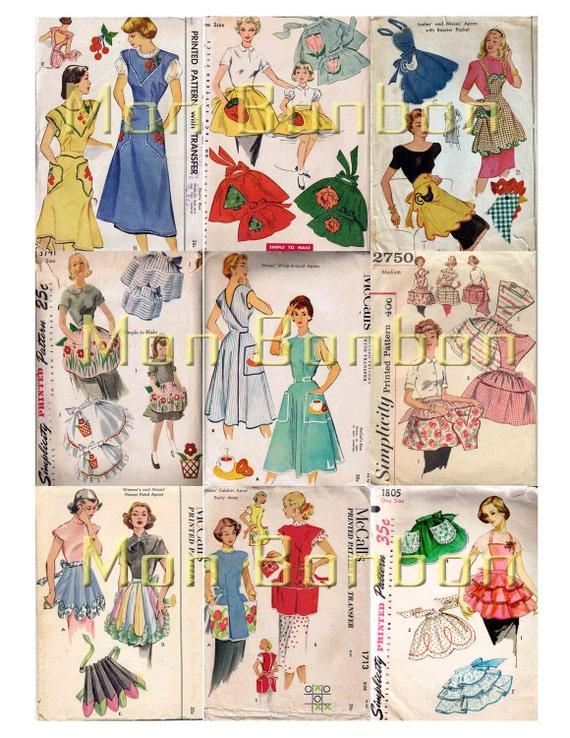 Vintage Schürze Nähen Muster digitale Collage Sheet