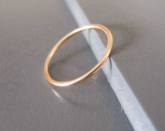Thin Rose Gold Filled Ring, Skinny Rose Gold Ring, Stacking Rose Gold Ring, Simple Red Gold Ring, Midi Gold Filled Ring