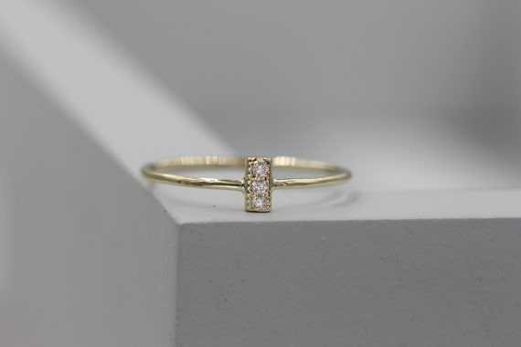 14k Solid Gold Stackable Ring  Diamond Bar Ring Minimalist Ring Stacking Ring by Etsy