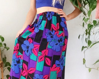 Vintage 1980s Bright Bold Floral High Waisted Midi Skirt Tropical Skirt Vintage 80's Skirt Floral Skirt Boho Bohemian Floral Skirt S