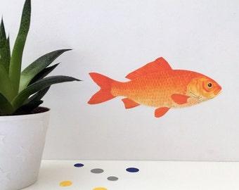 Goldfish wall sticker, goldfish decal, goldfish, goldfish wall decal, goldfish art, fish gift, fish wall art, belated birthday, orange fish