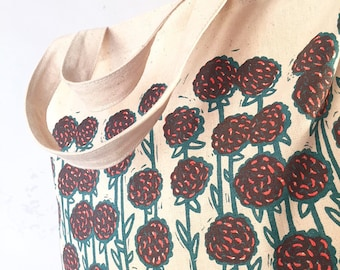 Tote bag // Flower tote bag // Flower shopping bag // Shopping bag // Organic shopping bag // Market bag // Floral print bag