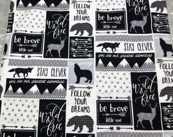 Animal baby blanket, minky lovey, woodland travel blanket, adventure baby blanket, satin lovey, outdoors baby, wildlife blanket