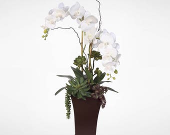 Real Touch White Phalaenopsis Silk Orchids with Succulents in a Tall Metal Planter #39A