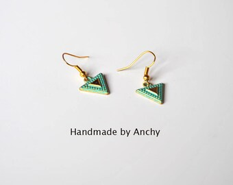 Cute small gold plated dangle earrings with green patina in shape of a triangle*