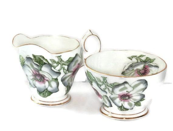 Magnolia China Creamer Open Sugar Bowl Queen Anne England Vintage Serving Set