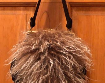 Vintage Curly Lamb Handbag Purse Mongolian Lam Fur