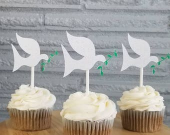 Dove cupcake toppers, wedding dove toppers, dove  toppers, cupcake toppers
