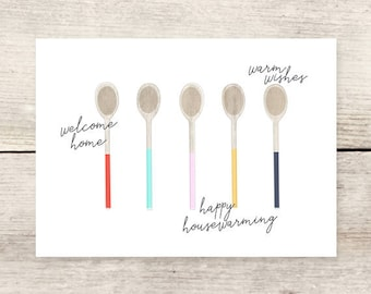 Wooden Spoons Housewarming card, New Home greeting card
