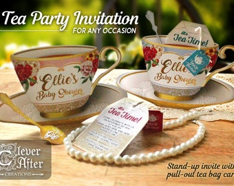 Bridal Shower Tea Party Invitation Garden Tea Party Wedding