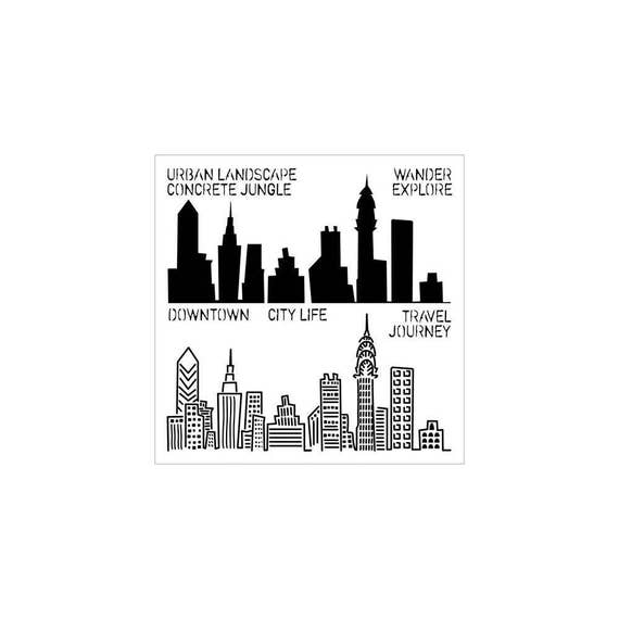 "Urban Landscape 6"" x 6"" Stencil /  template design perfect for mixed media, scrapbooking, journaling and so much more"
