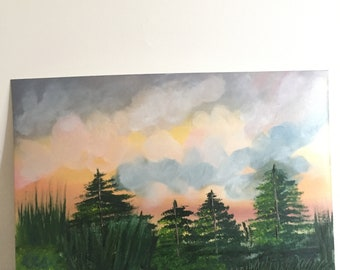 Oil painting colourful sky in nature
