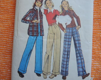 vintage 1970s simplicity sewing pattern 5262 juniors unlined jacket shirt jacket and pants size 7/8