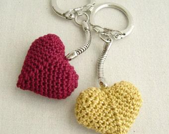 Red Heart keychain - Golden Keychain - Heart keychain - crochet heart keychain - wedding gift - wedding favors - teacher appreciation gift