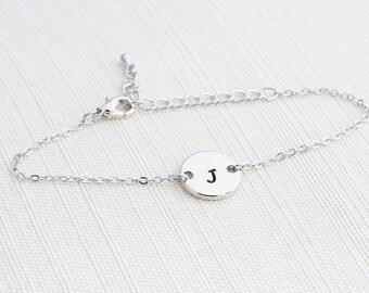 Silver Initial Bracelet, Silver Bracelet, Personalised Disc Bracelet, Initial Bracelet, Stacking Bracelet, Dainty bracelet