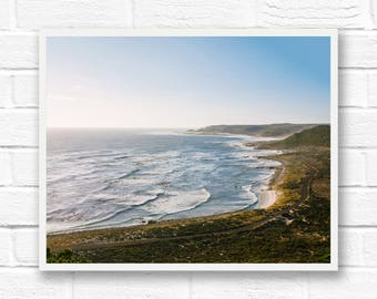 Coastal decor, horizontal beach prints, South Africa landscape print, travel photography, beach wall art photography prints, ocean waves