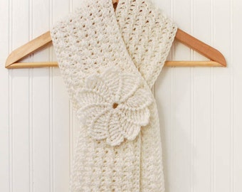 Crochet Pattern - Textured Keyhole Scarf with Spiral Flower - Instant Download PDF