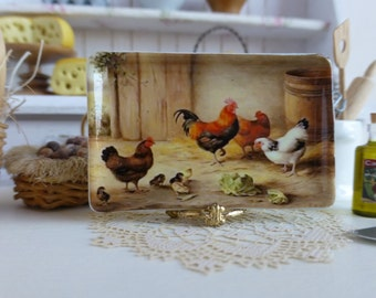 Country Farm Roosters Dollhouse Tray