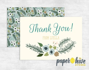 floral thank you card / baby shower thank you card / bridal shower thank you card / printed thank you cards