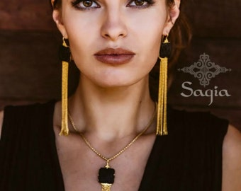 Black And Gold Tassel Necklace, Gold Chain Tassels, Elegant Necklace, Boho Necklace, Bohemian Jewellery, Gifts For Her, Sagia Jewelry