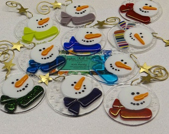 Fused Glass Snowman Ornament