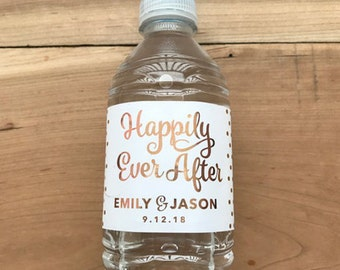 Gold Foil Waterproof Water Bottle Labels - Silver Polka Dot Metallic Labels - Personalized Wedding - Party Drink - Happily Ever After