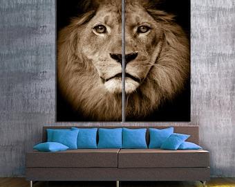 Lion portrait, 2 Panel Split (Diptych) Canvas Print. Closeup animal wildlife photography giclee art for home wall decor & interior design.