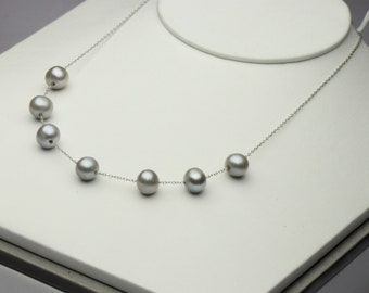 9-10mm dyed gray pearl necklace,sterling silver chain necklace,pearl jewelry,near round pearl beads.