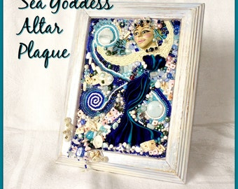 Sea Goddess Bead Embroidered Altar Plaque